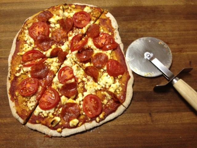 Homemade Feta, Tomato, Pepperoni Whole Wheat Pizza | Recipe ...