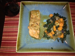Soy Ginger Salmon with a Sweet Potato and Kale Salad