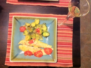 White Roughy, Brussel Sprouts and Tomato Bake